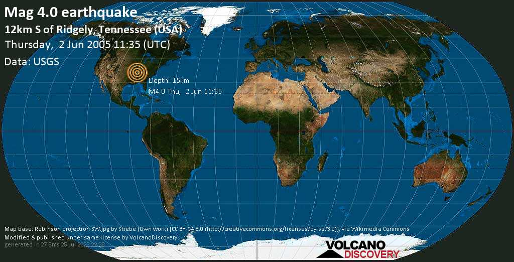 Light mag. 4.0 earthquake - 9.4 mi northwest of Dyersburg, Dyer County, Tennessee, USA, on Thursday, 2 June 2005 at 11:35 (GMT)