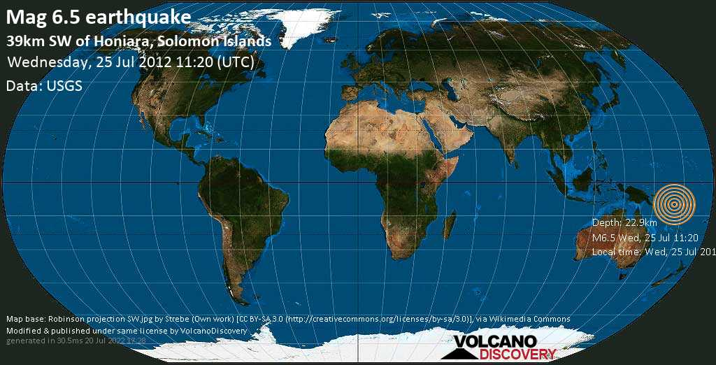 Strong mag. 6.5 earthquake  - 39km SW of Honiara, Solomon Islands on Wednesday, 25 July 2012