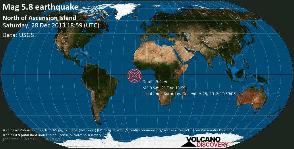 Moderate mag. 5.8 earthquake  - North of Ascension Island on Saturday, 28 December 2013
