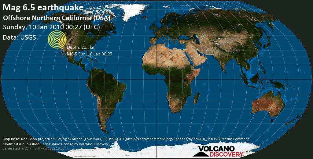 Very strong mag. 6.5 earthquake - North Pacific Ocean, 30 mi west of Eureka, Humboldt County, California, USA, on Sunday, 10 January 2010 at 00:27 (GMT)