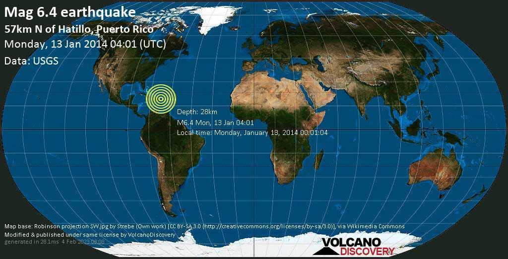 Forte terremoto magnitudine 6.4 - North Atlantic Ocean, 60 km a nord da Arecibo, Portorico, lunedì, 13 gennaio 2014