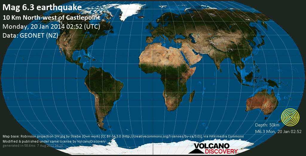 Strong mag. 6.3 earthquake - 9.3 km north of Castlepoint, Masterton, Wellington, New Zealand, on Monday, 20 January 2014 at 02:52 (GMT)
