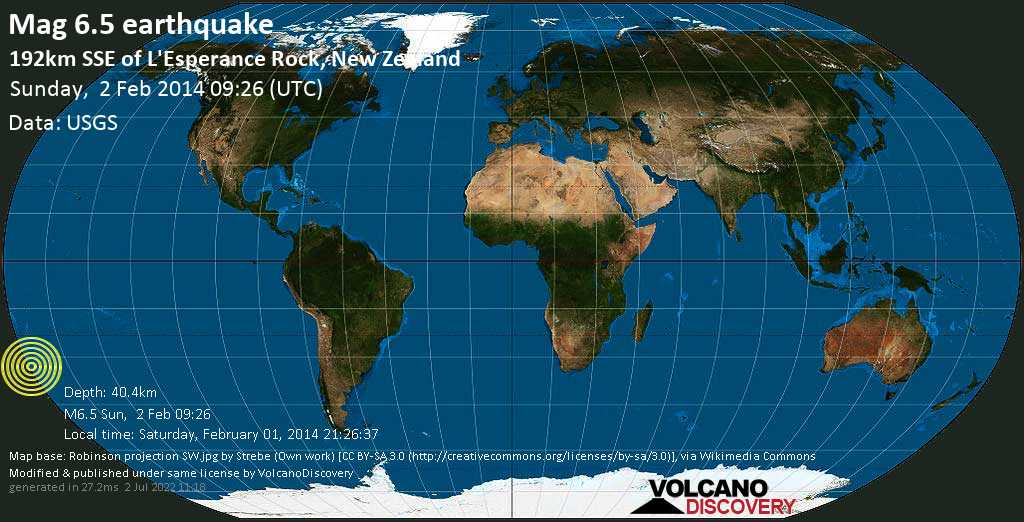 Strong mag. 6.5 earthquake  - 192km SSE of L\'Esperance Rock, New Zealand on Sunday, 2 February 2014