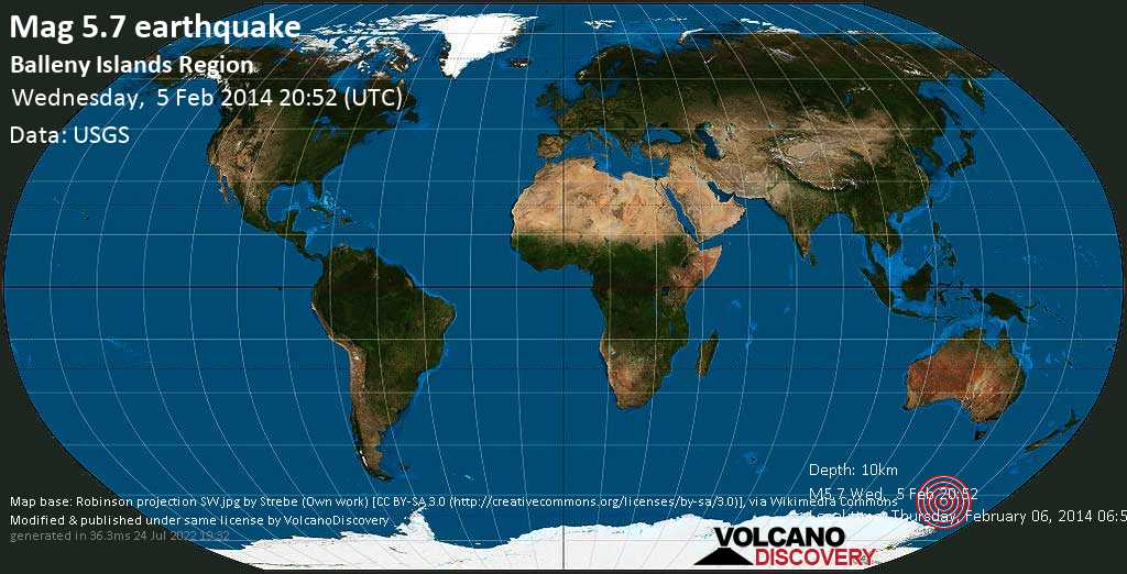 Moderate mag. 5.7 earthquake  - South Pacific Ocean on Thursday, February 06, 2014 06:52:33