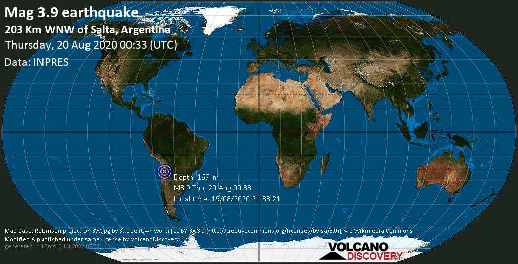 Mag. 3.9 earthquake  - 203 km west of Salta, Argentina, on 19/08/2020 21:33:21