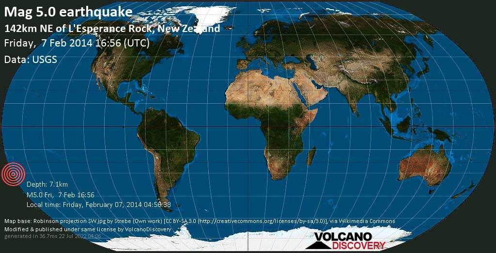 Moderate mag. 5.0 earthquake  - South Pacific Ocean, 1366 km northeast of Wellington, New Zealand, on Friday, February 07, 2014 04:56:38