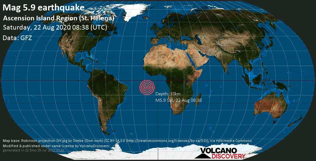 Moderate mag. 5.9 earthquake  - Ascension Island Region (St. Helena) on Saturday, 22 August 2020