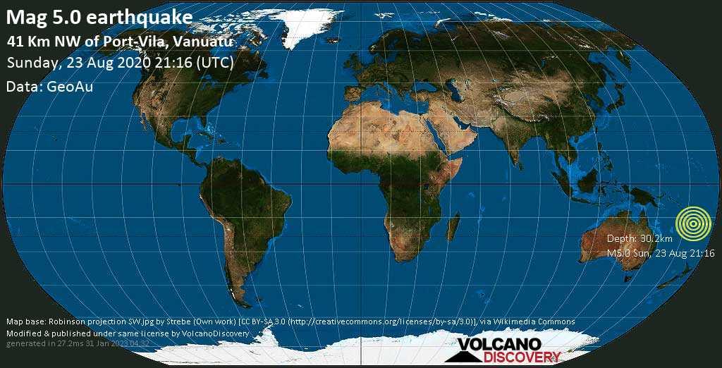 Moderate mag. 5.0 earthquake - Coral Sea, 40 km northwest of Port Vila, Shefa Province, Vanuatu, on Sunday, 23 August 2020 at 21:16 (GMT)