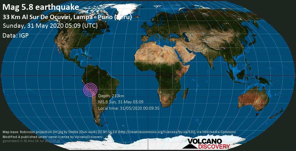 Moderate mag. 5.8 earthquake - Provincia de Lampa, 87 km west of Juliaca, San Roman, Puno, Peru, on 31/05/2020 00:09:35