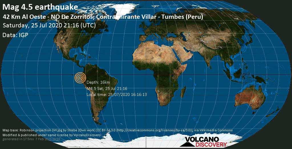 Light mag. 4.5 earthquake  - 42 Km Al Oeste - NO De Zorritos, Contralmirante Villar - Tumbes (Peru) on Saturday, 25 July 2020
