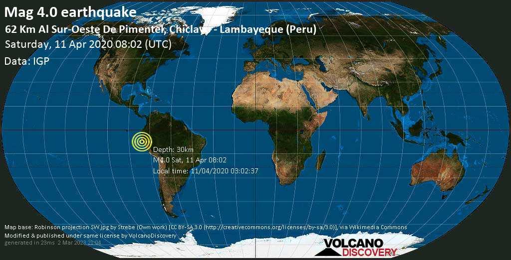 Leichtes Erdbeben der Stärke 4.0 - South Pacific Ocean, 74 km südwestlich von Chiclayo, Lambayeque, Peru, am Samstag, 11. Apr 2020 um 08:02 GMT