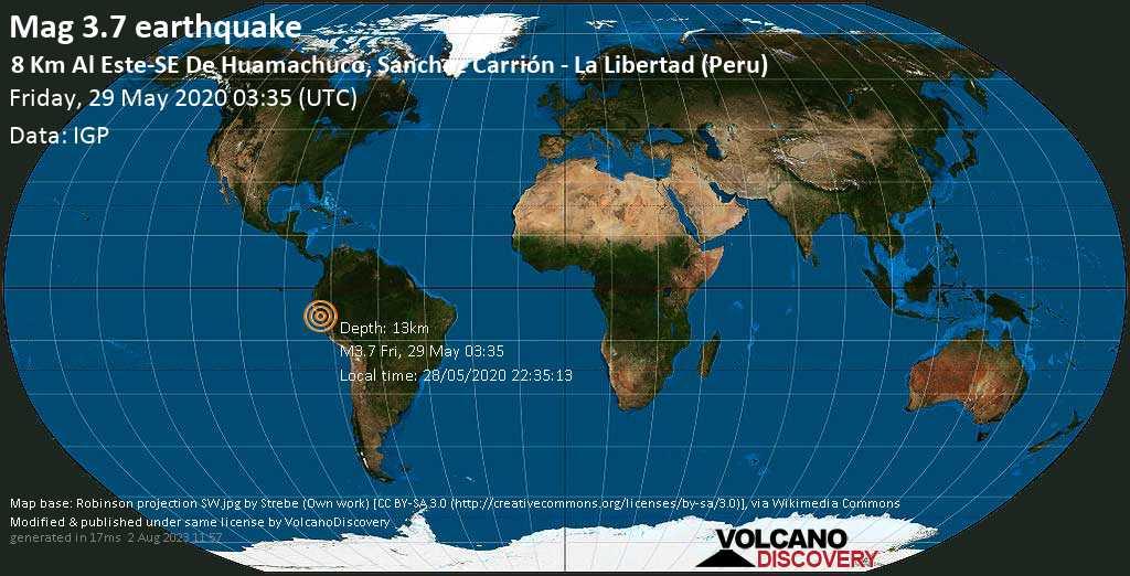 Light mag. 3.7 earthquake - 10.6 km southeast of Huamachuco, Sanchez Carrión, La Libertad, Peru, on 28/05/2020 22:35:13
