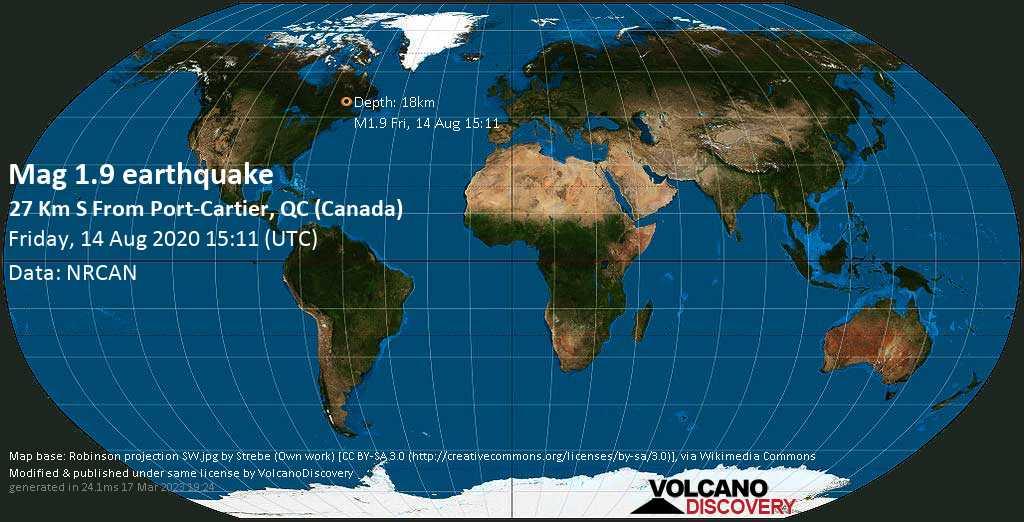 Sehr schwaches Beben Stärke 1.9 - 29 km südlich von Port-Cartier, Côte-Nord, Quebec, Kanada, am Freitag, 14. Aug 2020 um 15:11 GMT