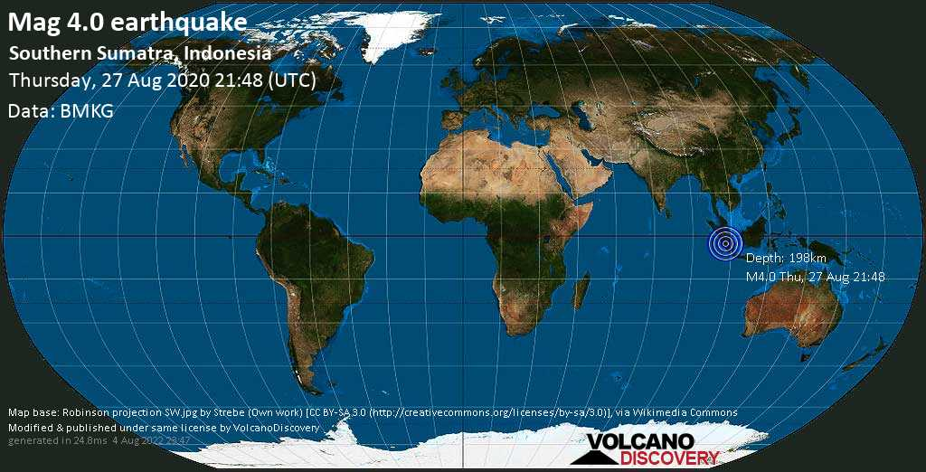 Terremoto leve mag. 4.0 - 83 km NW of Lubuklinggau, Sumatera Selatan, Indonesia, Thursday, 27 Aug. 2020
