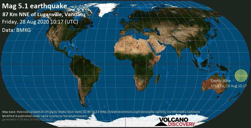 Terremoto moderato mag. 5.1 - Coral Sea, 87 km a nord est da Luganville, Sanma Province, Vanuatu, venerdí, 28 agosto 2020