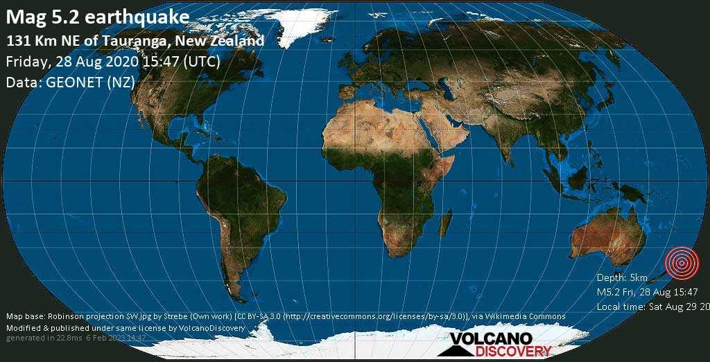 Moderate mag. 5.2 earthquake  - 131 km NE of Tauranga, New Zealand on Friday, 28 August 2020