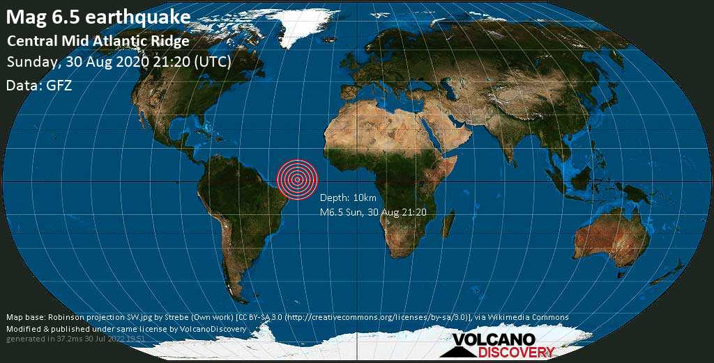 Strong mag. 6.5 earthquake  - Central Mid Atlantic Ridge on Sunday, 30 August 2020