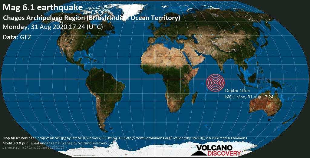 Sehr starkes Magnitude 6.1 Erdbeben - Britisches Territorium im Indischen Ozean, 502 km südwestlich von Hithadhoo, Malediven, am Montag, 31. Aug 2020 um 17:24 GMT