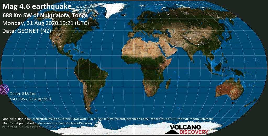 Mag. 4.6 earthquake  - South Pacific Ocean, 688 km southwest of Nuku\'alofa, Tongatapu, Tonga, on Monday, 31 August 2020 at 19:21 (GMT)