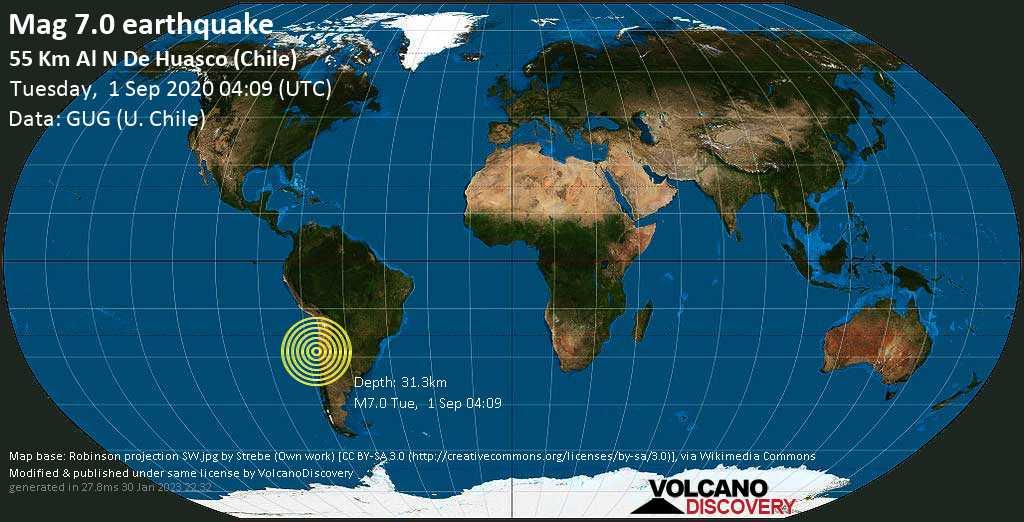 Schweres Erdbeben der Stärke 7.0 - South Pacific Ocean, 82 km nordwestlich von Vallenar, Huasco, Atacama, Chile, am Dienstag,  1. Sep 2020 um 04:09 GMT