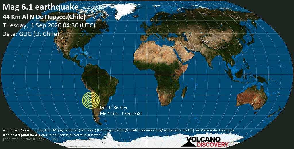 Strong mag. 6.1 earthquake  - 44 km al N de Huasco (Chile) on Tuesday, 1 September 2020