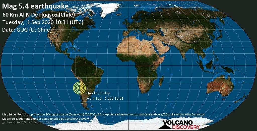 Moderate mag. 5.4 earthquake  - 60 Km Al N De Huasco (Chile) on Tuesday, 1 September 2020