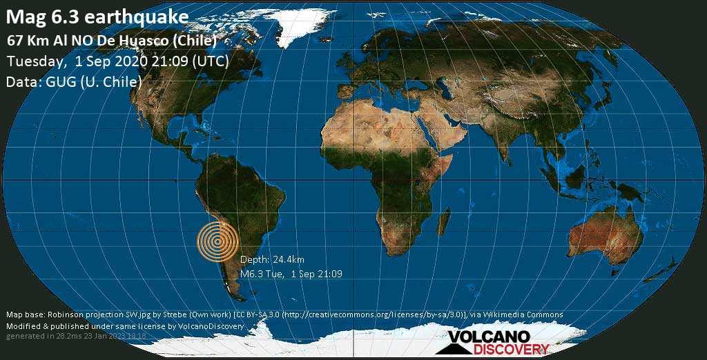 Strong mag. 6.3 earthquake  - 67 Km Al NO De Huasco (Chile) on Tuesday, 1 September 2020