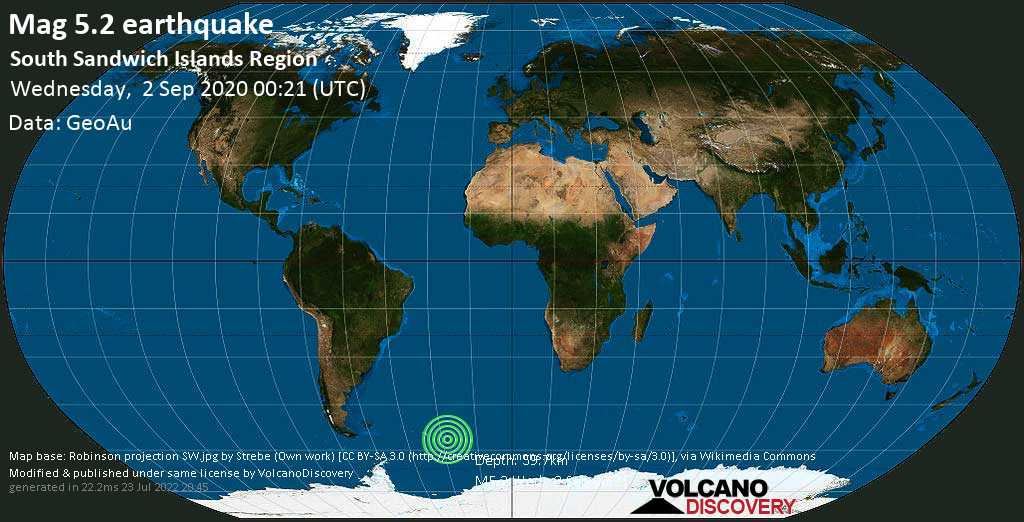 Moderate mag. 5.2 earthquake  - South Sandwich Islands Region on Wednesday, 2 September 2020 at 00:21 (GMT)