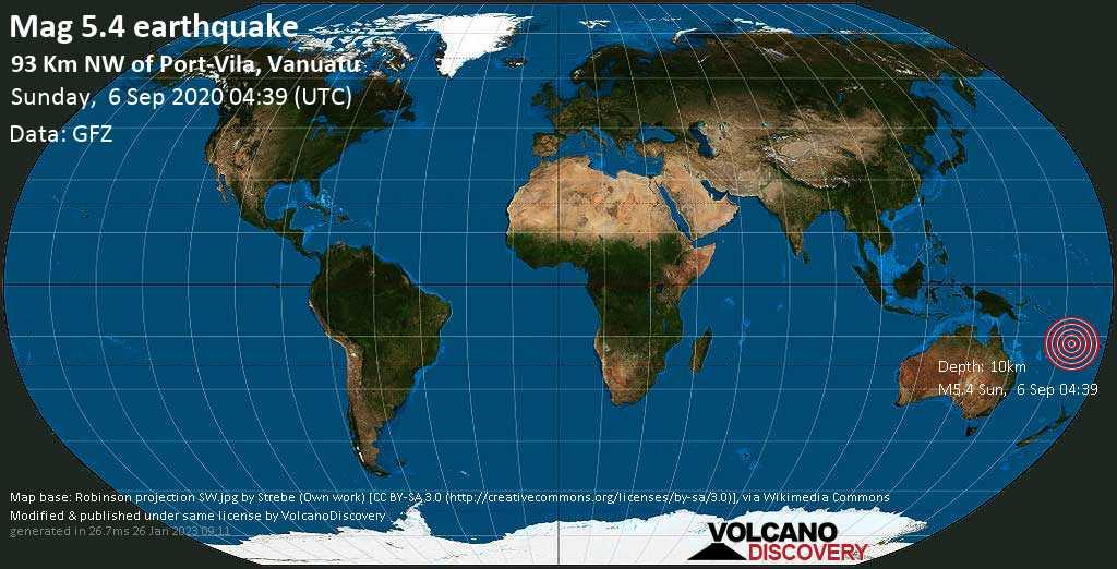 Strong mag. 5.4 earthquake - Coral Sea, 93 km northwest of Port Vila, Shefa Province, Vanuatu, on Sunday, 6 September 2020 at 04:39 (GMT)