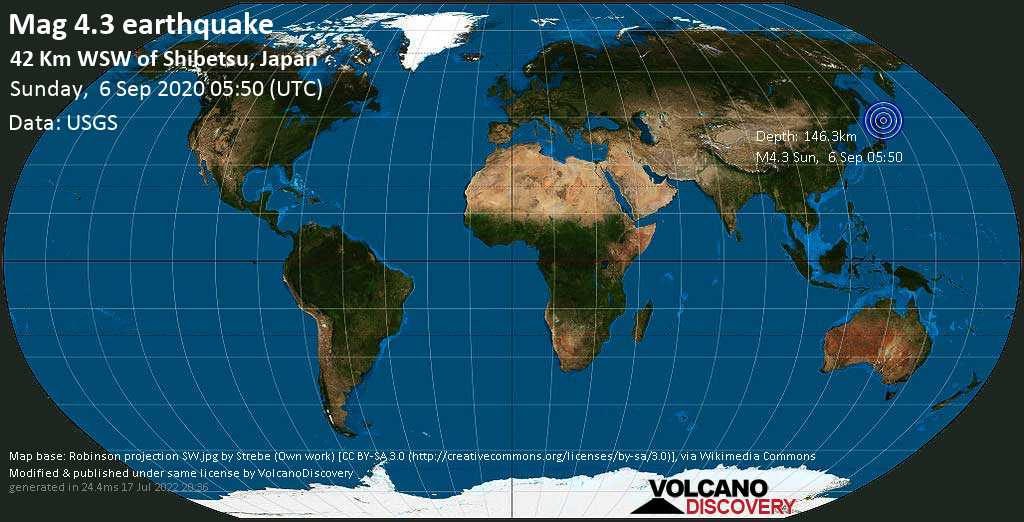 Light mag. 4.3 earthquake - 68 km north of Kushiro, Japan, on Sunday, September 6, 2020 at 05:50 (GMT)