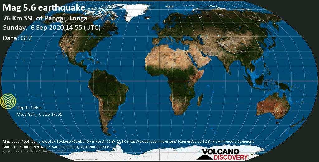 Moderate mag. 5.6 earthquake  - 76 km SSE of Pangai, Tonga on Sunday, 6 September 2020