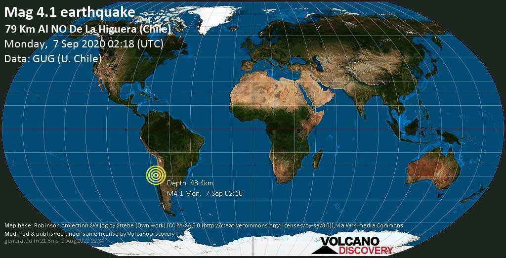 Light mag. 4.1 earthquake - 114 km north of Coquimbo, Elqui, Chile, on Monday, 7 September 2020 at 02:18 (GMT)