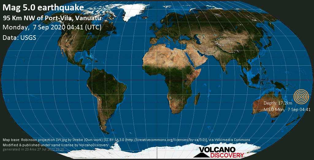 Strong mag. 5.0 earthquake - Coral Sea, 96 km northwest of Port Vila, Shefa Province, Vanuatu, on Monday, 7 September 2020 at 04:41 (GMT)