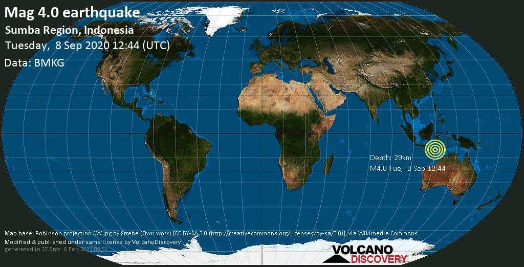 Mag. 4.0 earthquake  - 78 km west of Waingapu, Kabupaten Sumba Timur, Nusa Tenggara Timur, Indonesia, on Tuesday, 8 September 2020 at 12:44 (GMT)