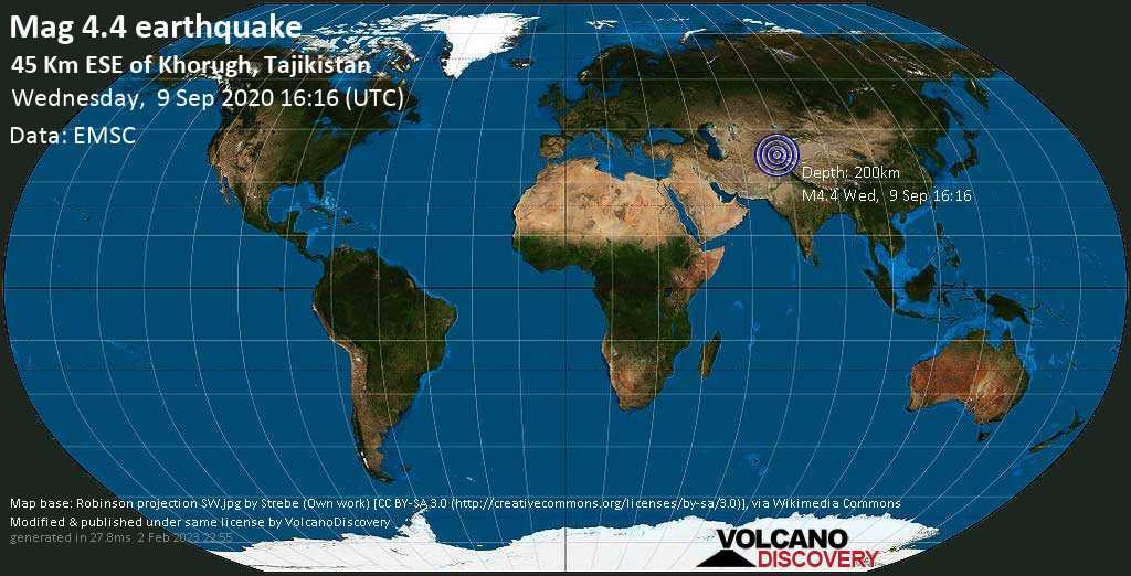Mag. 4.4 earthquake  - 45 km east of Khorugh, Nohijai Şuƣnon, Vilojati Muxtori Kūhistoni Badaxşon, Tajikistan, on Wednesday, 9 September 2020 at 16:16 (GMT)