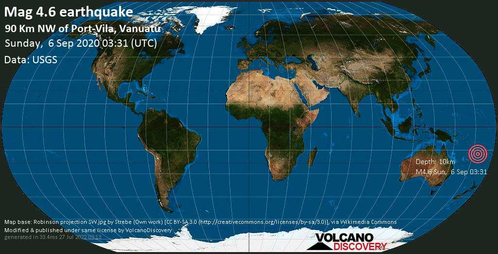 Moderate mag. 4.6 earthquake - 91 km northwest of Port-Vila, Port Vila, Shefa Province, Vanuatu, on Sunday, 6 September 2020 at 03:31 (GMT)