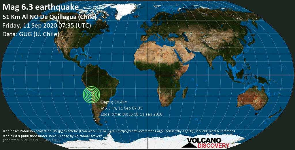 Strong mag. 6.3 earthquake  - 51 Km Al NO De Quillagua (Chile) on Friday, 11 September 2020