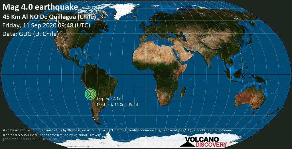 Light mag. 4.0 earthquake  - 45 Km Al NO De Quillagua (Chile) on Friday, 11 September 2020