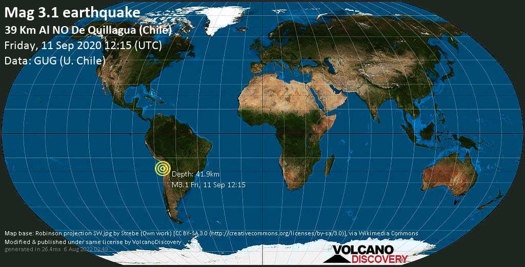 Minor mag. 3.1 earthquake  - 39 Km Al NO De Quillagua (Chile) on Friday, 11 September 2020 at 12:15 (GMT)