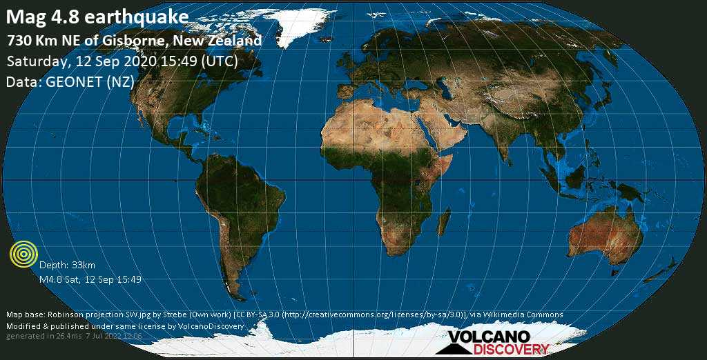 Light mag. 4.8 earthquake  - 730 km NE of Gisborne, New Zealand on Saturday, 12 September 2020