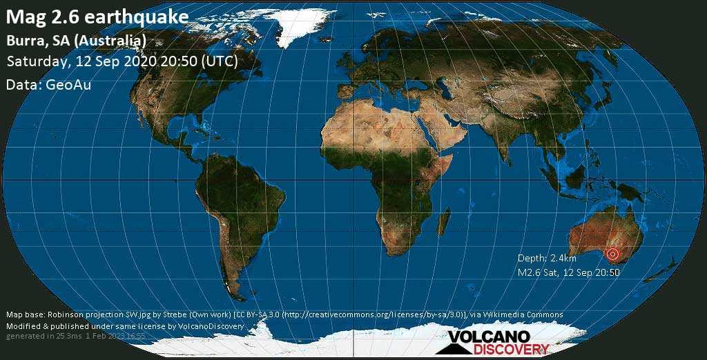 Minor mag. 2.6 earthquake  - Burra, SA (Australia) on Saturday, 12 September 2020