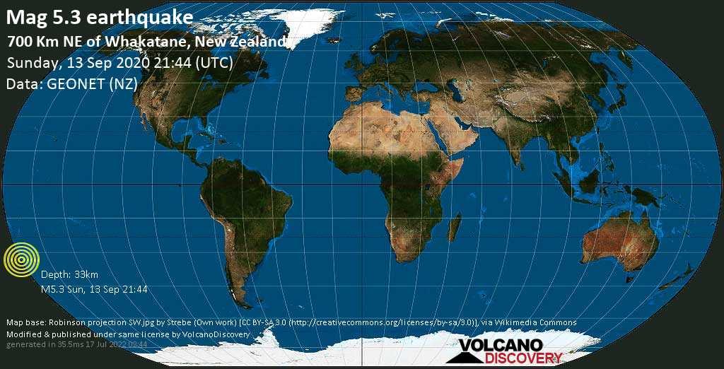 Moderate mag. 5.3 earthquake  - 700 km NE of Whakatane, New Zealand, on Sunday, 13 September 2020 at 21:44 (GMT)