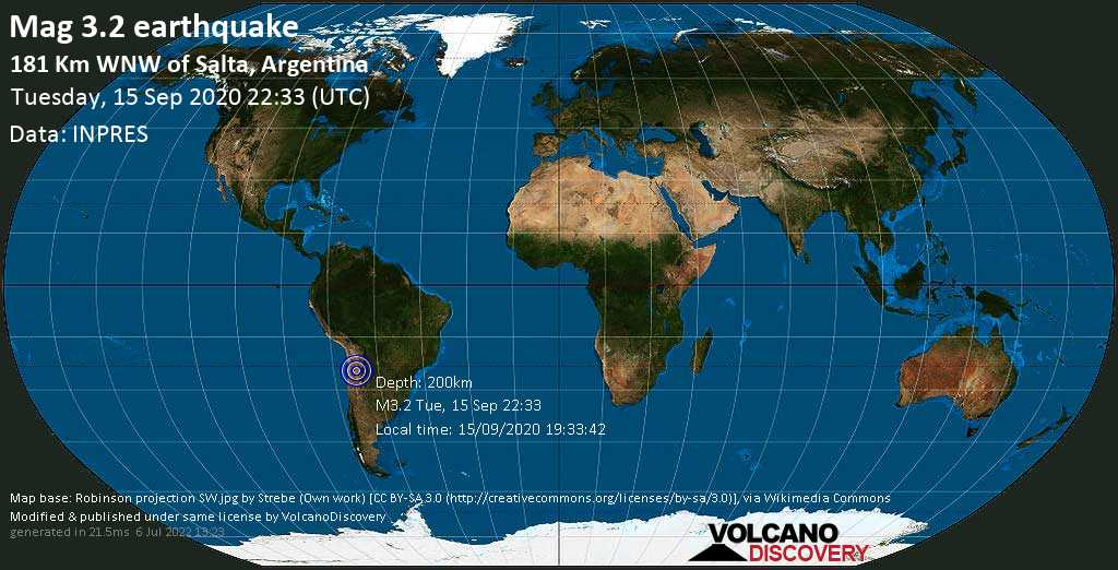 Minor mag. 3.2 earthquake  - 181 km WNW of Salta, Argentina on Tuesday, 15 September 2020