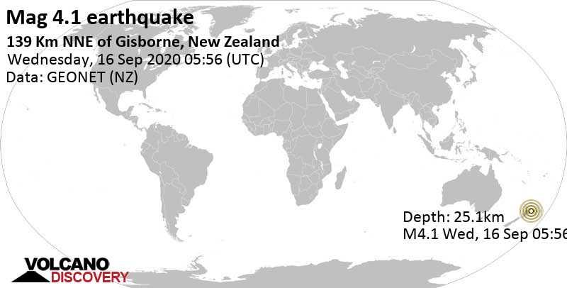 Light mag. 4.1 earthquake  - 139 km NNE of Gisborne, New Zealand on Wednesday, 16 September 2020
