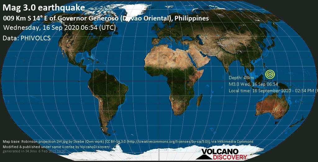Minor mag. 3.0 earthquake  - 009 Km S 14° E of Governor Generoso (Davao Oriental), Philippines on Wednesday, 16 September 2020