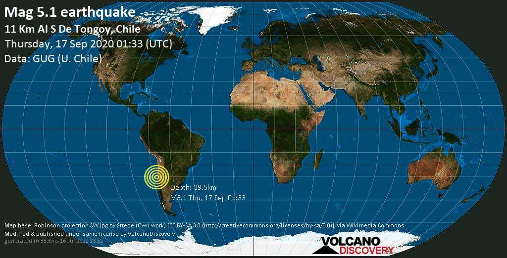 Moderate mag. 5.1 earthquake  - 11 Km Al S De Tongoy, Chile on Thursday, 17 September 2020