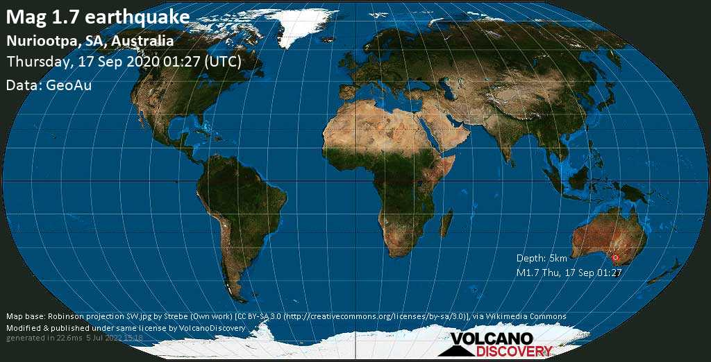 Sismo minore mag. 1.7 - 6.7 km a sud ovest da Steinfeld, Mid Murray, South Australia, giovedí, 17 settembre 2020