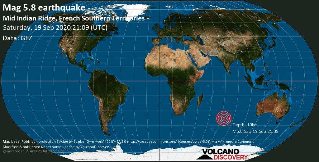 Moderate mag. 5.8 earthquake  - Mid Indian Ridge, French Southern Territories on Saturday, 19 September 2020
