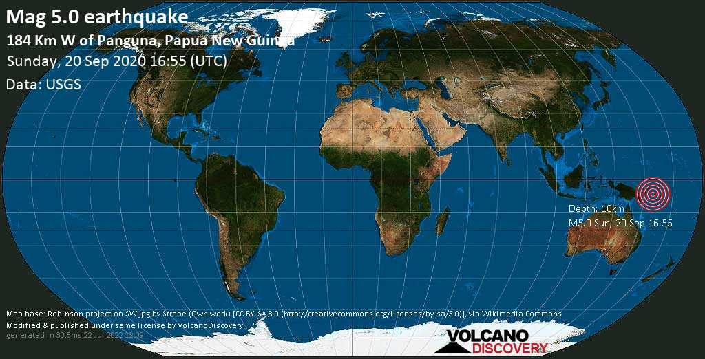 Moderate mag. 5.0 earthquake  - 184 Km W of Panguna, Papua New Guinea on Sunday, 20 September 2020