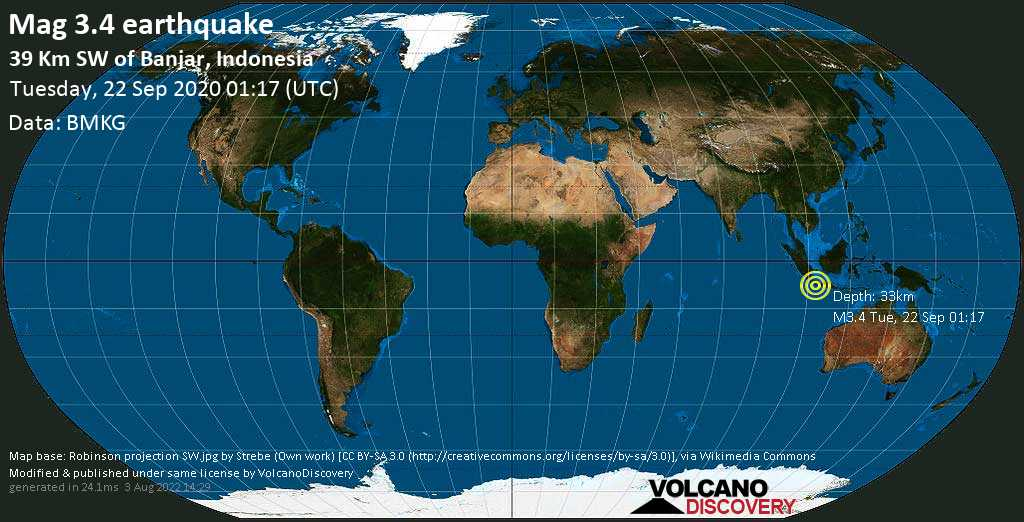 Minor mag. 3.4 earthquake  - 39 Km SW of Banjar, Indonesia on Tuesday, 22 September 2020
